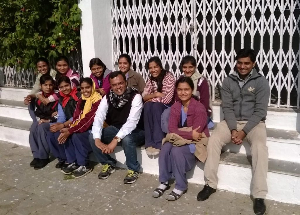 Pranjal Dubey with SSISM students
