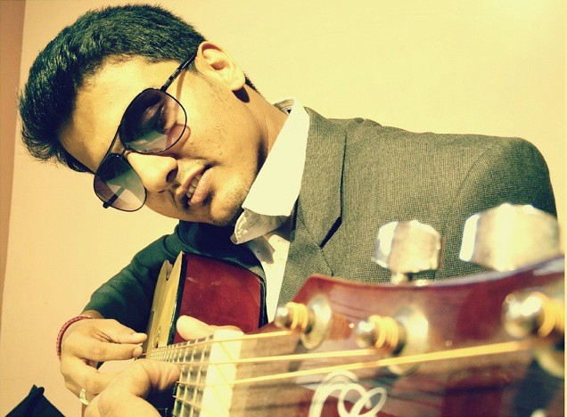 Subrahmanya Bhat with his guitar
