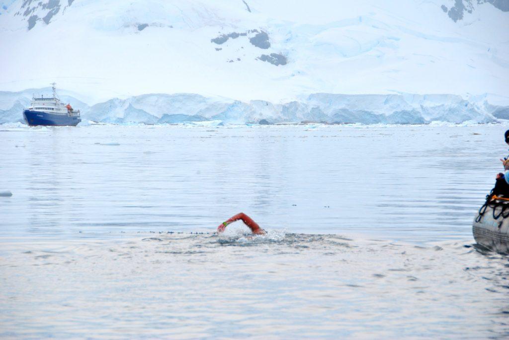 Bhakti Sharma swimming in ice cold water